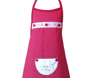 Girl's Leaf Print Apron in Red and White / Apron for Girls Size 7-8