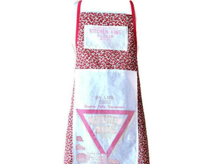 Apron From Vintage Kitchen King Flour Sack Fits Women Sizes M to XL