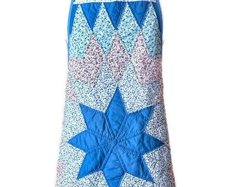 Blue and Pink Floral Quilted Apron for Woman Fits Sizes L-XL-1X