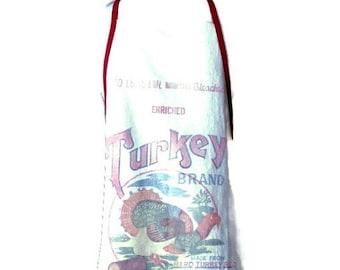 Turkey Brand Reproduction Flour Sack Apron for Women Fits Sizes S - M - L