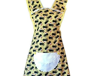 Chickens on Yellow Old-Fashioned Apron for Woman Fits Sizes M or L