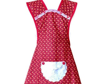 Red Floral Old-Fashioned Apron For Woman Fits Sizes XS-S