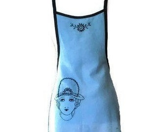 Blue Apron from Vintage Stamped Cloth with Embroidery / Apron for Woman Fits Sizes XS-S