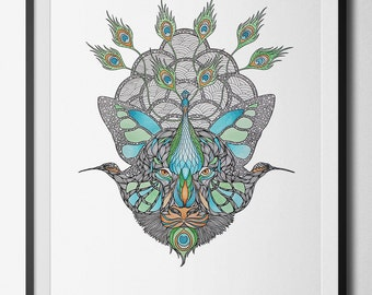 Blended Creatures digital print from an original hand drawn illustration