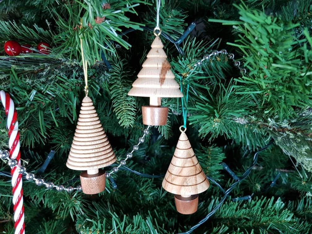 Three Christmas Tree Hanging Ornaments Wooden Tree
