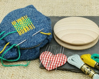 Handmade wooden darning disc for visible mending clothes by Silvanwoodturning