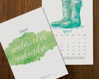 """2022 Watercolor Calendar Set 5x7"""""""