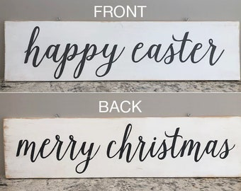 """Merry Christmas & Happy Easter reversible wood sign 36""""x9"""""""