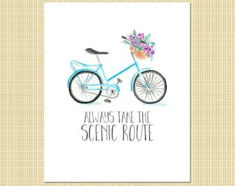 Bicycle & flowers art print