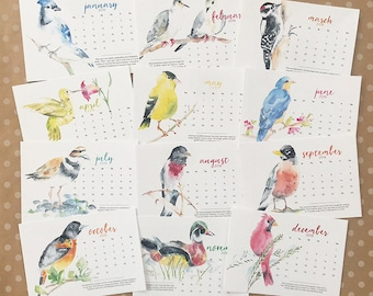 2018 watercolor BIRD calendar