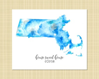 home sweet home state & zip watercolor print