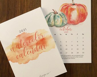 2021 watercolor calendar 8x10