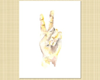 hands in peace sign watercolor print