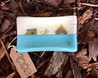 4eva fused glass soap dish 'Oh I do like...High tide'