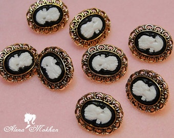 8 pcs Tiny Victorian Steampuk Lady Cameo Doll Buttons
