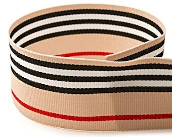 """5 yards 3/8""""-1.5"""" Beige Black White Red Stripes Woven Grosgrain Ribbon"""