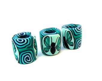Green Butterfly Spiral Dread Bead, Dreadlock Beads, 8mm Hole, Polymer Clay, Fimo, The Dread Bead Shop