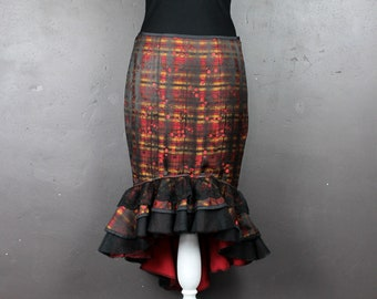 Triple stacked ruffled checkered jacquard embroidered MIDI sheath skirt branches of cherry red lace flowers black m