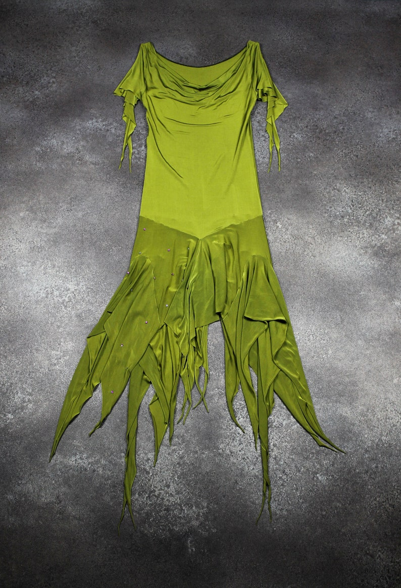 Green women evening dress knee-length pistachio green jersey cowl neck shoulders bare cascade of ruffles embroidered white rose rhinestone fuchsia TM