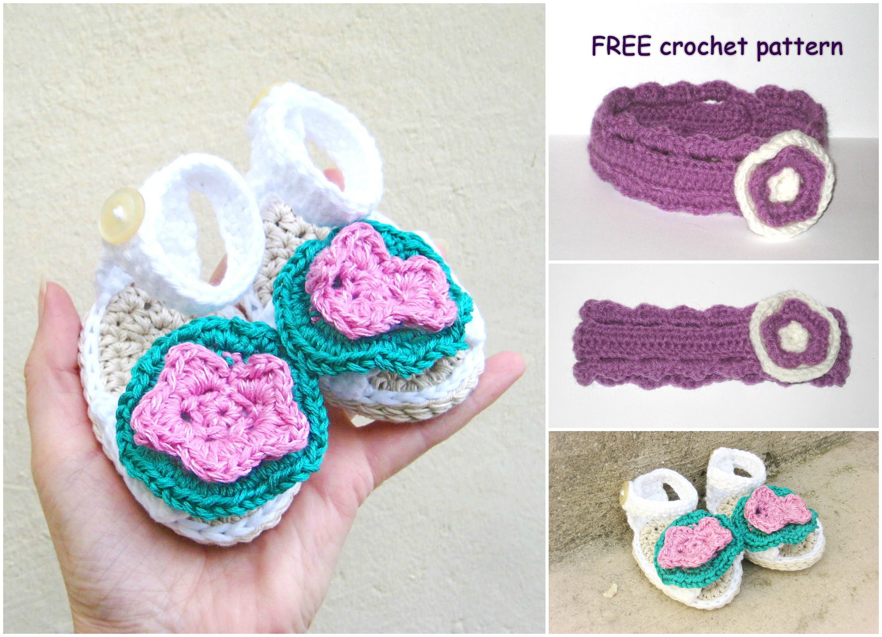 Crochet Pattern Baby Girl Sandals Baby Headband Free Etsy