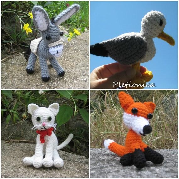 Crochet Pattern Amigurumi Animals 4 Patterns Crochet Toys Etsy