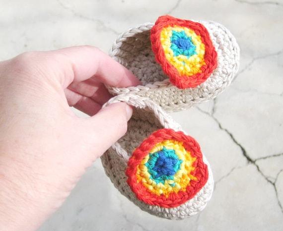 Crochet Baby Rainbow Slippers Easy Crochet Pattern In 3 Sizes Etsy