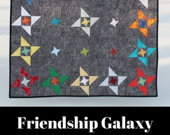 Printed quilt pattern - Friendship Galaxy - Mini quilt, wall quilt, baby quilt and throw quilt size options included