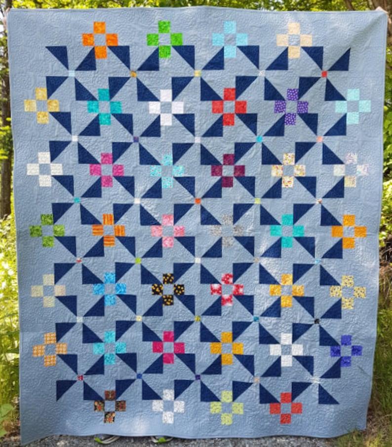 PDF Quilt Pattern  Pinwheel Garden  Baby quilt throw quilt image 0