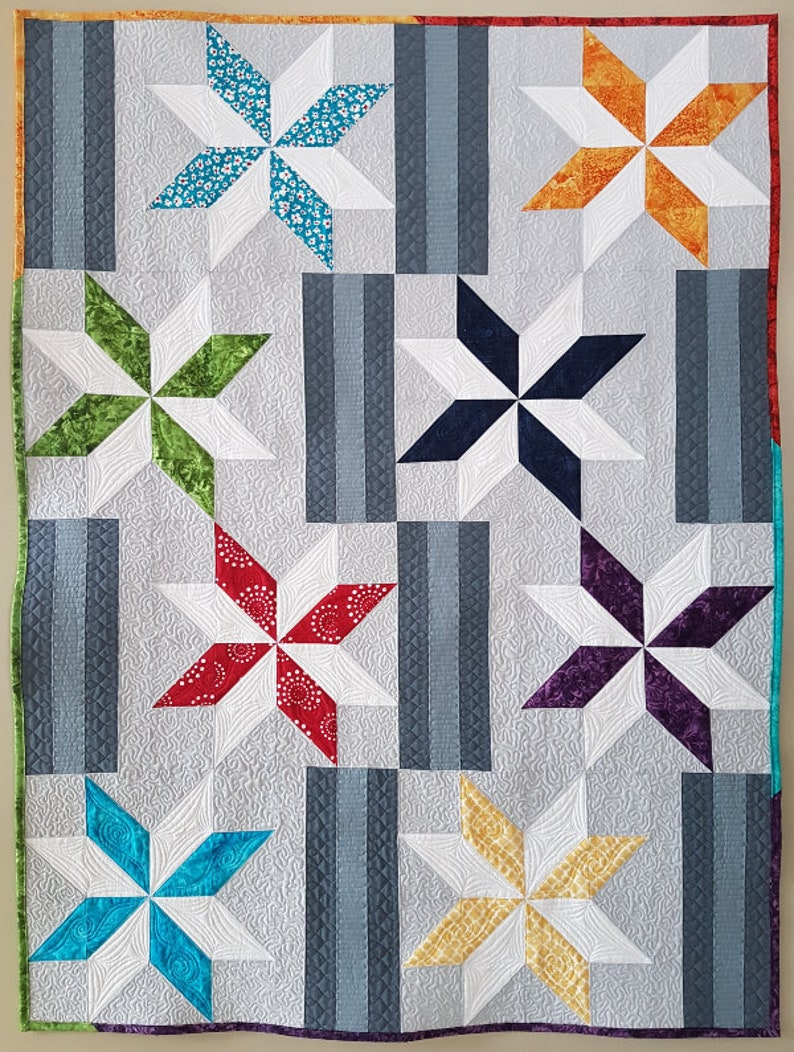 Between the Stars PDF quilt pattern  placemat baby quilt image 0