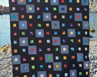 Printed quilt pattern - Scraps Squared (baby quilt, throw quilt and queen quilt size options included)