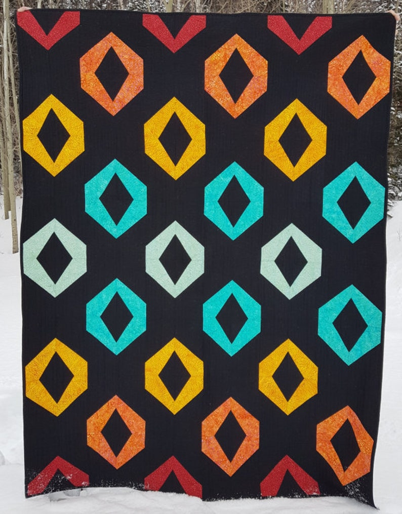 Hollow Jewels PDF quilt pattern  Baby quilt throw quilt and image 0