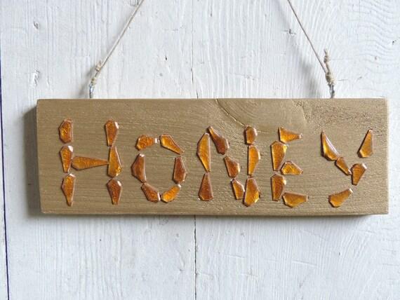 Targa decorativa in legno con scritta honey decorazione da for Targhe decorative in legno