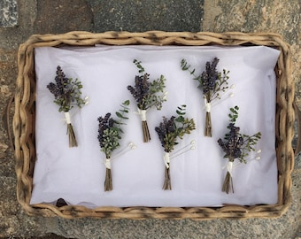 Lavender and Eucalyptus custom boutonniere