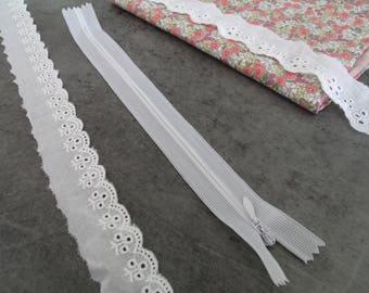 Zipper Zip 20cm white Invisible zipper closure