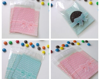 50 covers bow 8cmx12.4cm transparent gift bags