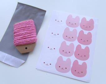 """Labels stickers """"rabbits"""" 3 color 2.6 cm * 3.7 cm"""