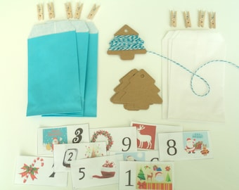 DIY Kit the White Christmas advent calendar and Turquoise Blue