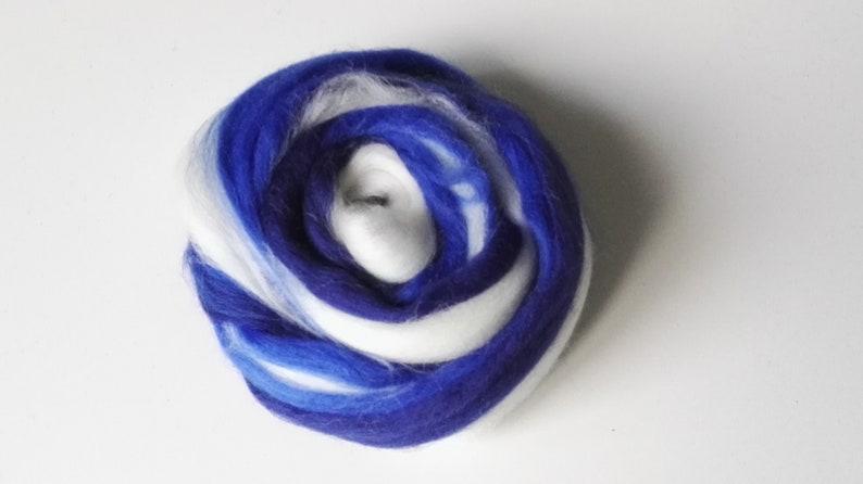 White 20g Wool Felting andor Merinos Card\u00e9e Wire Painted Multicolored Blue
