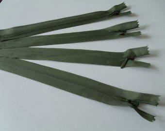 Zipper Zip 20cm Green Khaki color Invisible zipper closure