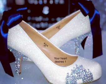 2443e6dbf Crystal castle wedding shoes   bridal pumps Disney wedding theme   crystal  low mid high heels