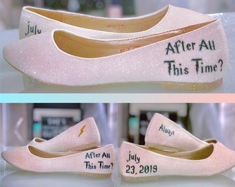 cedd085cca8 Harry p wedding shoes bridesmaids bridal flat pumps name and date custom  personalized shoes