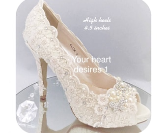 77d37adf55bd vintage women s shoes wedding lace pearl crystal bridal heels pumps