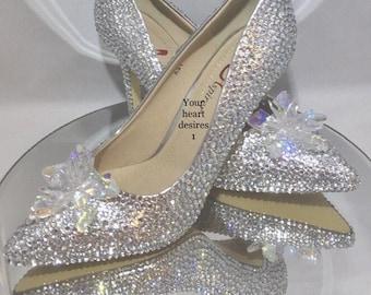 a410662e4 Swarovski shoes Cinderella wedding heels bridal wedding pumps crystal  flower jimmy