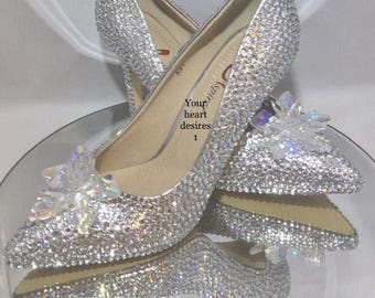 be22cd5d8 Swarovski shoes Cinderella wedding heels bridal wedding pumps crystal  flower jimmy