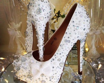 Crystal wedding shoes bow shoes bride shoes