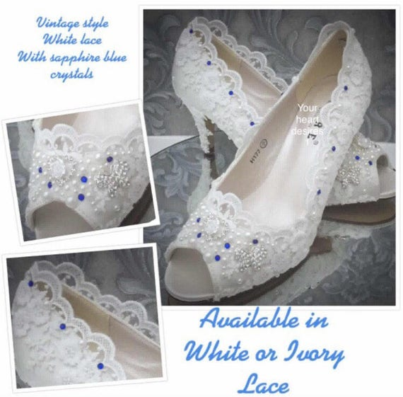 Wedding Shoes Vintage Lace Style Blue Crystals White Pearls Etsy