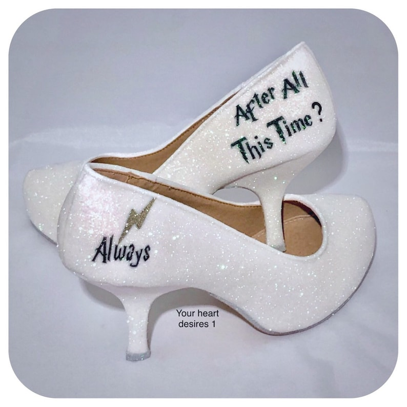 c6b689a21858 Bridal wedding shoes Harry Potter white pearlised glitter