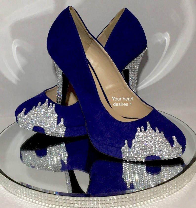 7738db23d700d Blue wedding shoes crystal castle shoes bridal prom party