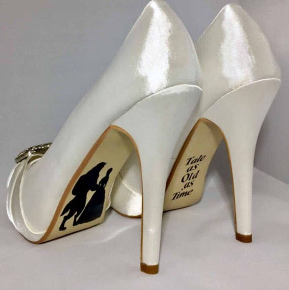 5be604341b33 Items similar to Beauty and beast wedding shoe decal bridal shoes  personalised shoe stickers on Etsy