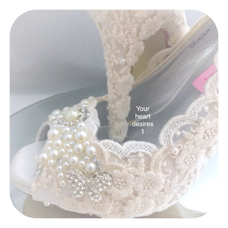 4699005620e07 vintage women's shoes wedding lace pearl crystal bridal heels pumps